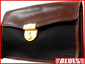 即決★イタリア製 dunhill★レザーコンビビジネスバッグ ダンヒル メンズ 茶 本革 かばん 本皮 ショルダー 通勤 出張 カバン 鍵付き鞄