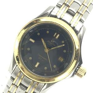 OMEGA オメガ 2371.80 シーマスター120 レディース 腕時計 クオーツ 青文字盤 デイト 3針 K18YG×SS コンビ 管理YK20003178