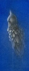仙北谷和子「ハシビロコウII」銅版画 カラーメゾチント 額装 鳥