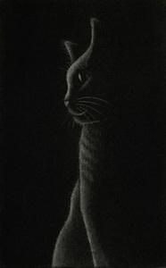 仙北谷和子「Profile」銅版画 メゾチント 額装 猫