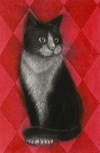 仙北谷和子「赤い部屋」銅版画 カラーメゾチント 額装 猫