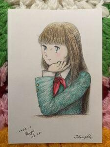 Handwritten Illustration ★ Sailor Clothes Girl No. 62 (Thought · Thoughts) ★ Pencil Color Pencil Ballpoint Pen ★ Paper Forward ★ Size 16.5 × 11.5cm ★ New · Not for sale