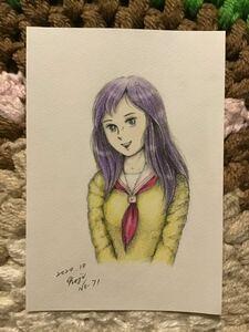 Handwritten illustration ★ Sailor suit girl No. 71 ★ pencil color pencil ballpoint pen ★ paper paper ★ size 16.5 × 11.5 cm ★ new