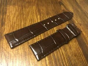 送料込 本物 クロコダイル ワニ革 ベルト 20mm/18mm こげ茶 ダークブラウン 腕時計 バンド 2884