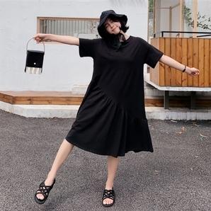 バックシャン 後ろリボン 黒 ブラック ロングワンピース 切替スカート アシメデザイン アシンメトリー レディース フリル大きいサイズ