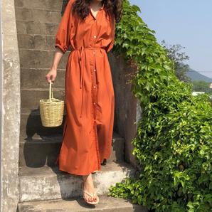 オレンジ フリーサイズ 大き目 半袖シャツワンピース オレンジ グリーン 羽織に マキシワンピース Aライン ロングワンピース 半袖
