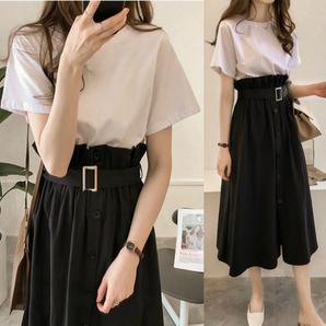 ホワイト セット販売 白Tシャツと黒スカートセット マキシ丈スカート 清楚 セットアップ モード シンプル お出かけに オフィスカジュアル