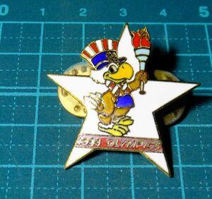 1984年 アメリカ ロサンゼルスオリンピック ロス五輪大会 聖火 記念章 マスコットキャラクター イーグルサム 記章 バッジ バッチ メダル