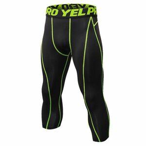 送料無料 新品 ランニングウェア 七分丈 タイツ メンズ Lサイズ グリーン パンツ トレーニング スポーツ アウトドア 加圧 スパッツ 1051