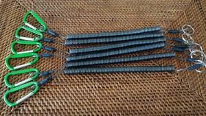 強力!■新品5本セット■スパイラルコード 尻手ロープ カール寸法約16センチ 全長約30センチ 最大伸長約150センチ ワイヤー内蔵 釣り