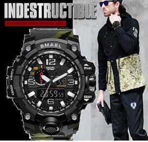 ■2020新品!■ ダイバーズウォッチ 森林迷彩上2 メンズ レディース 腕時計 アナログ デジタル デュアル表示