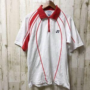 YONEX ヨネックス ハーフジップ 半袖シャツ ユニフォーム ゲームシャツ Sサイズ ホワイト ポリエステル