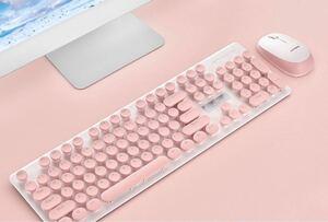 ピンクキーボード マウスセット 静音設計 レトロかわいい USB付ワイヤレス15