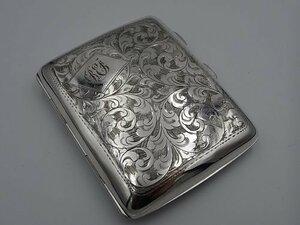 Grace アンティーク イギリス 1925年 純銀製 (スターリング・シルバー925/1000) 植物模様のシガレットケース 57g sterling silver