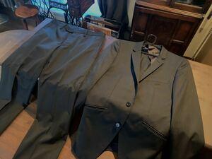 【美品】 タケオキクチ スーツ Mサイズ 黒 セットアップ メンズ ビジネス オールシーズン ストライプ TAKEO KIKUCHI 春夏秋冬