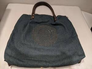 1円~ デニム ハンドバッグ スパンコール スタッズデザイン 中古品 トートバッグ 42995