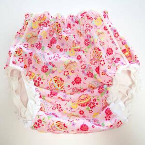 【新品】大人用おむつカバー L 毬×お花(ピンク) レース フィラインベイビーズ/Feline Babies