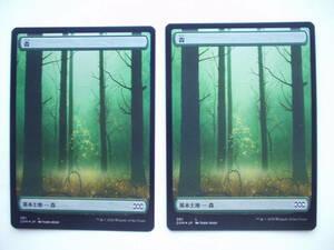 1 バイン MTG ダブルマスターズ 2XM 基本土地/基本地形 森 foil 日本語2枚 フルアート