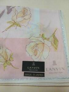 新品未使用 LANVINenBleuランバンオンブルー上品デザイン/日本製/洗濯してもしわになりにくい特殊加工ハンカチ/大判/スカーフ等にも