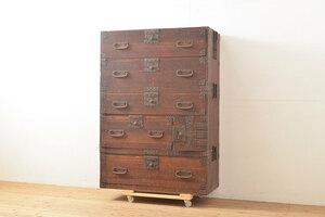 R-053258 和製アンティーク 上手物! 金具の立派な三段重ね時代箪笥(チェスト、和たんす、桐たんす、整理箪笥、収納タンス)(R-053258)