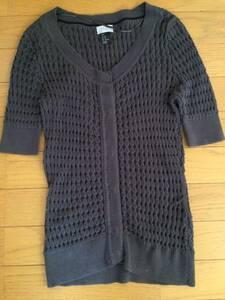 H&M 半袖カーディガン XS  S M 綿 半袖 トップス ニット セーター ダークグレー 灰色 チャコール エイチ エム    エム