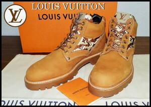 即完売 LOUIS VUITTON オーベルカンフ カモフラブーツ ベージュ レザー スエード ルイヴィトン メンズ 7 1/2 モノグラム LV レア 靴 ベルト