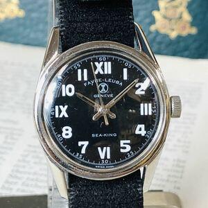 FAVRE-LEUBA ファーブルルーバ 腕時計 SEA KING 手巻き ブラック ホワイト 3針 機械式 稼動品 W1031