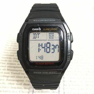 ★CASIO ILLUMINATOR メンズ 多機能 腕時計 ★カシオ イルミネーター W-96H アラーム クロノ スクエア ブラック 稼動品 F2138
