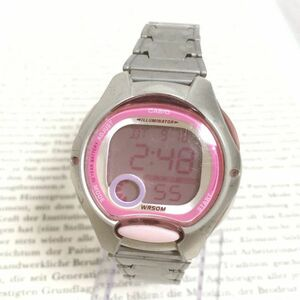 ★CASIO ILLUMINATOR デジタル 多機能 腕時計 ★カシオ イルミネーター LW-200 アラーム クロノ シルバー×ピンク 稼動品 F2156