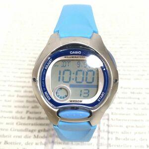 ★CASIO ILLUMINATOR デジタル 多機能 腕時計 ★カシオ イルミネーター LW-200 アラーム クロノ シルバー×ブルー 稼動品 F2277