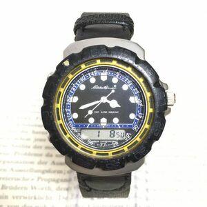 ★ Eddie Bauer デジアナ 多機能 腕時計 ★エディーバウアー 3針 アラーム クロノ 逆回転防止ベゼル レザーバンド 稼動品 F2335