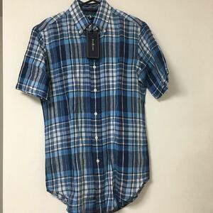 送料無料 未使用 ポロ ラルフローレン POLO RALPH LAUREN 半袖 リネン チェックシャツ XSサイズ