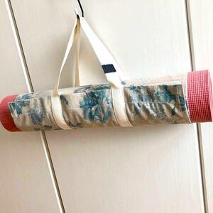 ヨガマットケース ブルーローズ×生成り色 持ち手通常タイプ