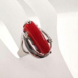 送料無料 指輪 リング アクセサリー 血赤珊瑚 サンゴ PT900 13号 総重量8.0g#4739