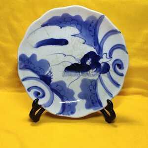 和骨董 明治染付皿 飾皿 古伊万里焼 旧家蔵出し 手描き 送料込み