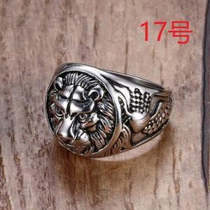 迫力抜群 王者 獅子 ライオン シルバー リング 指輪 17号