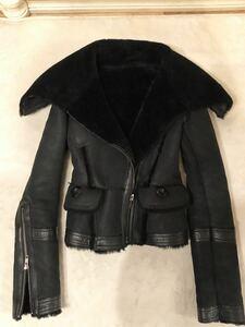 hal羊革リアルムートンラムレザーライダースジャケットコート黒超美品