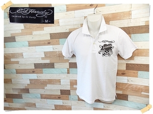 【ED HARDY】 美品 エドハーディー 半袖ポロシャツ ホワイト ポリエステル65% サイズM