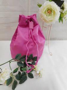 可愛いピンク色のポーチ 巾着 ナイロンポーチ バックインバック  新品