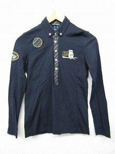 k3744:ZOY(ゾーイ)レディース長袖ポロシャツ40カットソー紺ゴルフウェア/日本製:35