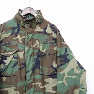 O0110 米軍 実物 M-LONG 86年製 80s 古着 ビンテージ ミリタリー U.S.ARMY M-65 フィールド ジャケット ウッドランド カモ 迷彩 4th 軍物