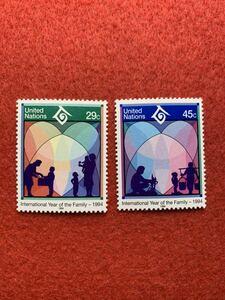 国連/未使用/NH/「1994年国際家族年」2種完
