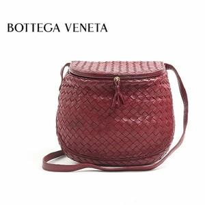 ◆BOTTEGA VENETA/ボッテガヴェネタ イントレチャート レザー 斜め掛け ショルダー バッグ ワインレッド