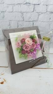 ★プリザーブドフラワー クリアケース入り フレームアレンジ 正方形 ピンク 誕生日 母の日 結婚祝 新築祝 ギフトに ★