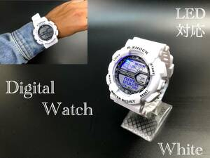 スポーツ腕時計 LED デジタル 腕時計 時計 ミリタリー 耐久性 スポーツ アウトドア キャンプ 男女兼用 ランニング  ホワイト 21