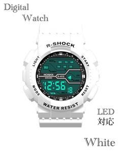 スポーツ腕時計 LED デジタル 腕時計 時計 ミリタリー 耐久性 スポーツ アウトドア キャンプ 男女兼用 ランニング  ホワイト 22