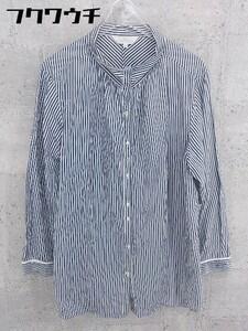 ◇ KUMIKYOKU 組曲 ストライプ スタンドカラー 長袖 シャツ サイズ7 ネイビー系 ホワイト レディース