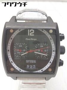◇ Franc Temps フランテンプス 動作未確認 クォーツ クロノグラフ ARMAND 型押し 腕時計 ウォッチ ホワイト メンズ