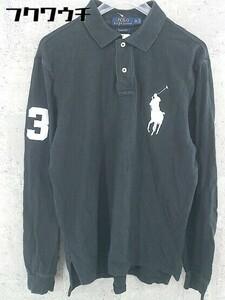 ◇ POLO RALPH LAUREN ポロ ラルフローレン 鹿の子 ビッグポニー 長袖 ポロシャツ サイズM ブラック メンズ