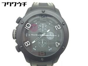◇ FrancTemps フランテンプス 動作確認済 クォーツ クロノグラフ GAVARNIE 腕時計 ウォッチ ブラック メンズ